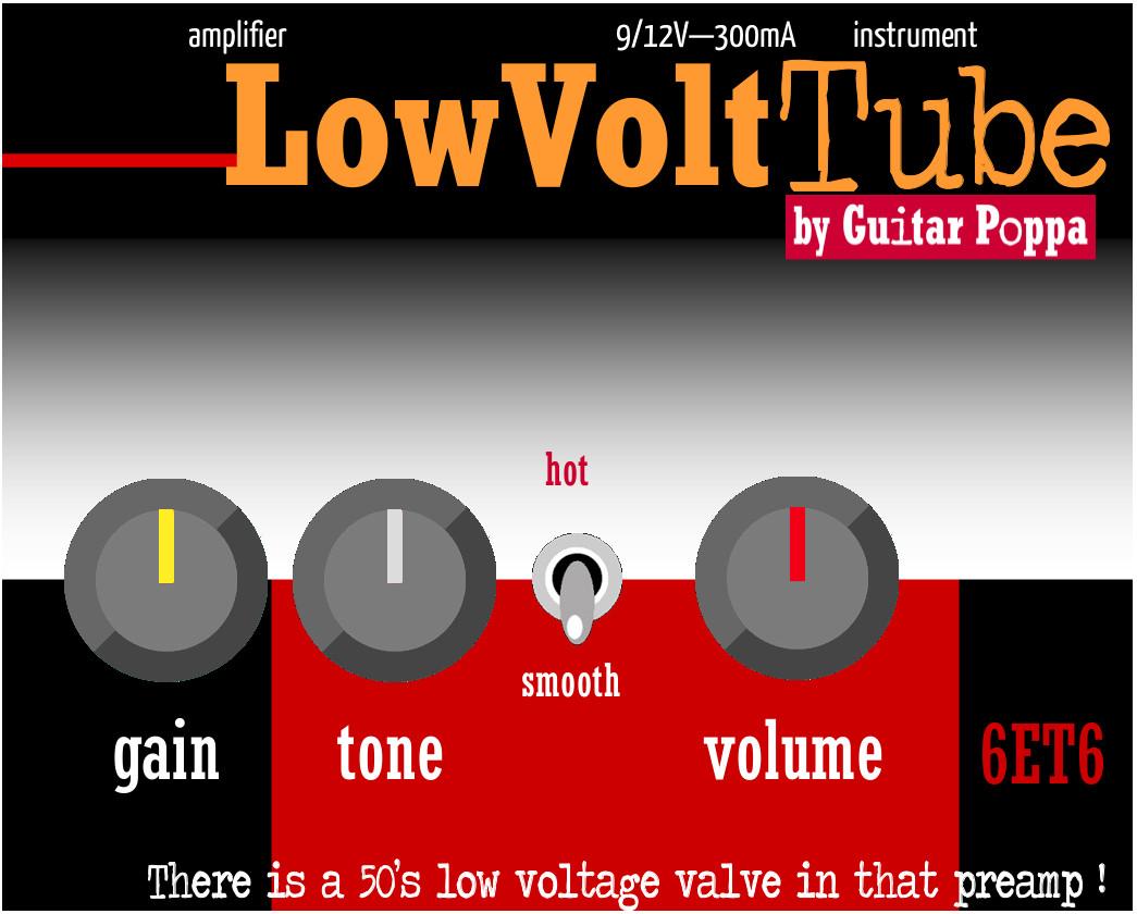 LowVoltTube. Préampli-overdrive avec JRC4558 et tube NOS 6ET6 (EF98) - façade