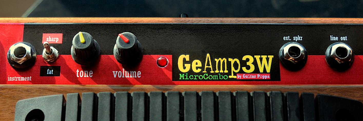 MicroCombo3W, amplificateur 3W pour guitare et harmo. Tableau de bord