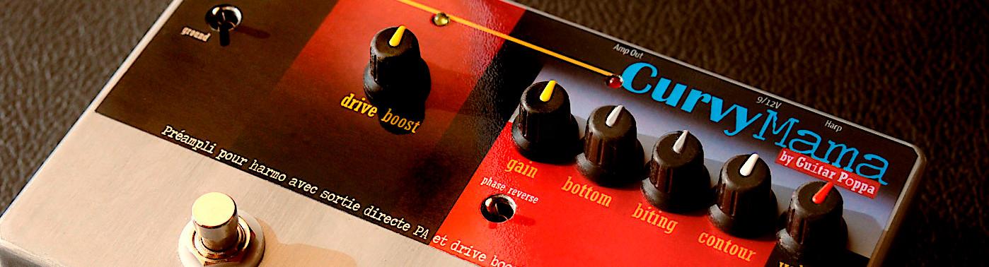 CuitarPoppa.com - CurvyMama + simsym - Préampli harmonica avec drive boost, simulateur de haut-parleur et sortie symétrique vers sono