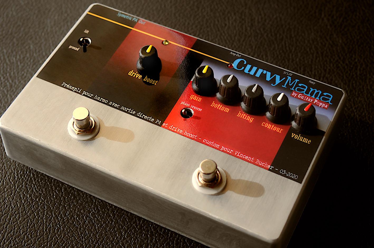 CurvyMama SimSym Output, préampli spécial harmo avec simulateur de HP et sortie symétrique pour liaison directe avec la sono