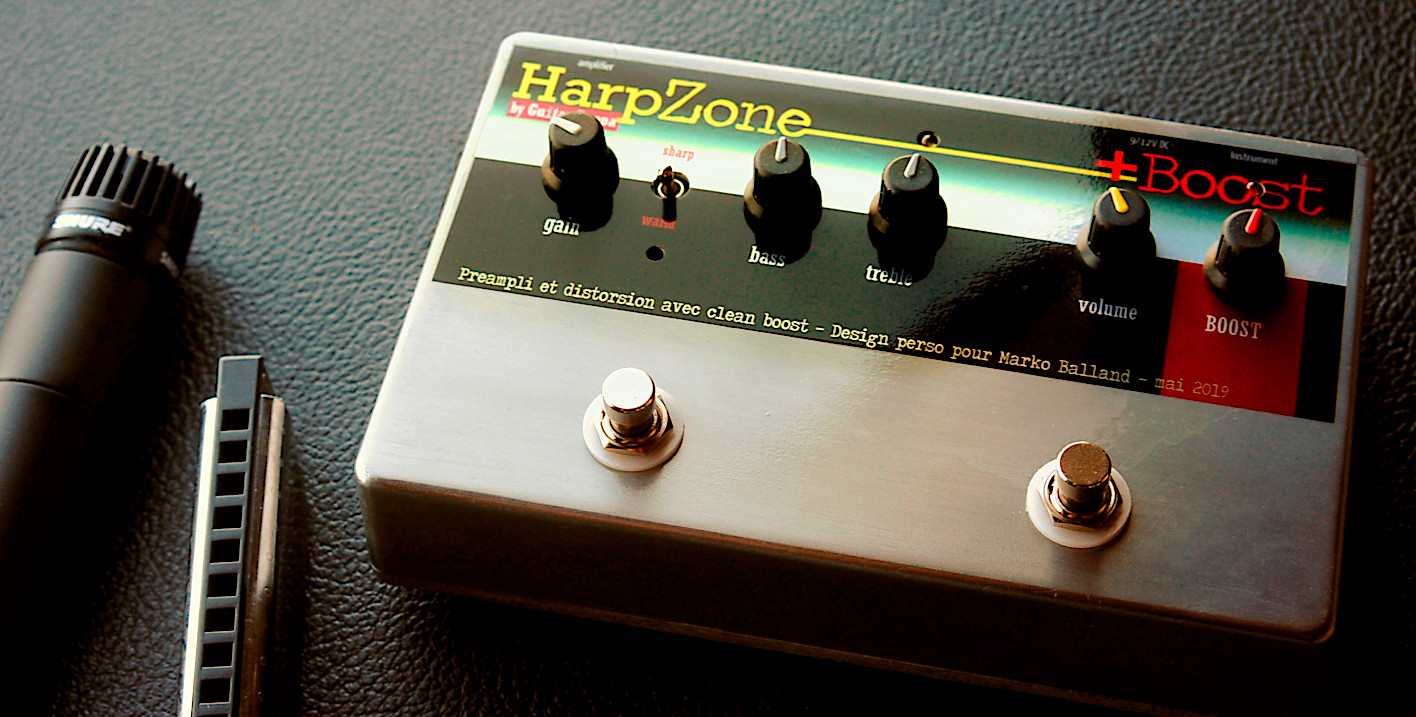 HarpZone, distorsion spéciale pour hamonica, avec booster